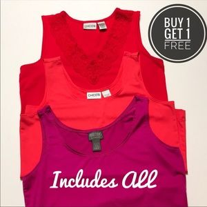 Chico's Magenta, Red, Coral Sleeveless Tops Bundle